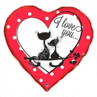 Фольгированное сердце I LOVE YOU котята