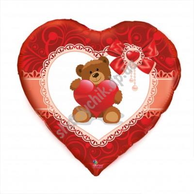 Фольгированное сердце Мишка с сердцем