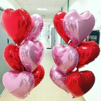 Связка розовые и красные сердца фольгированные 6 штук